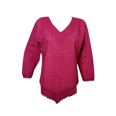 Embroidered Long Sleeve Skirt (Mogul Women Blouse Pink Embroidered Long Sleeves Summer Comfy Boho Chic)