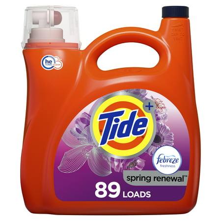 Tide Plus Febreeze Spring & Renewal HE, 89 Loads Liquid Laundry Detergent, 138 Fl Oz Ultra Laundry Powder