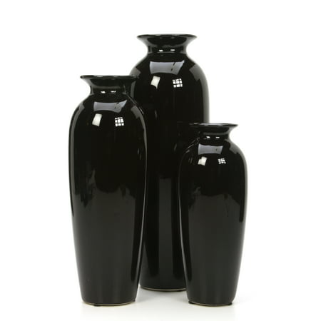 Hosely Set of 3 Black Decorative Ceramic Vases - 12