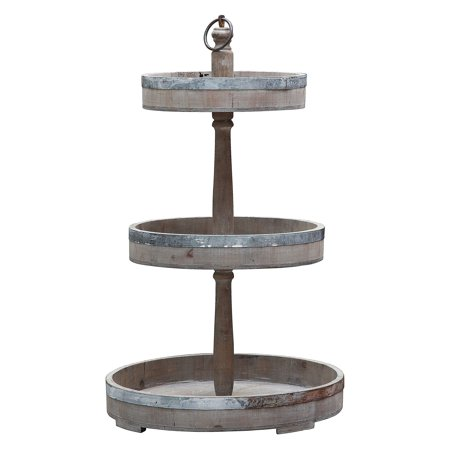 3R Studios Wood & Tin Decorative 3 Tier Tray
