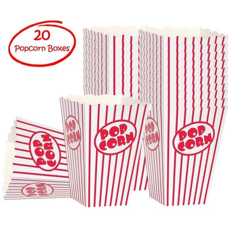 Popcorn Boxes - Striped White and Red Popcorn Boxes Tubs  - (20 Count) - Circus Door Decorations