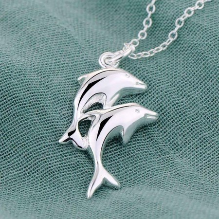 ON SALE - Double Dolphin Sterling Silver Necklace Silver