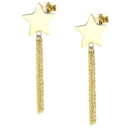 14kt Yellow Gold Diamond-Cut Shooting Star Dangle and Drop Chain Post Earrings