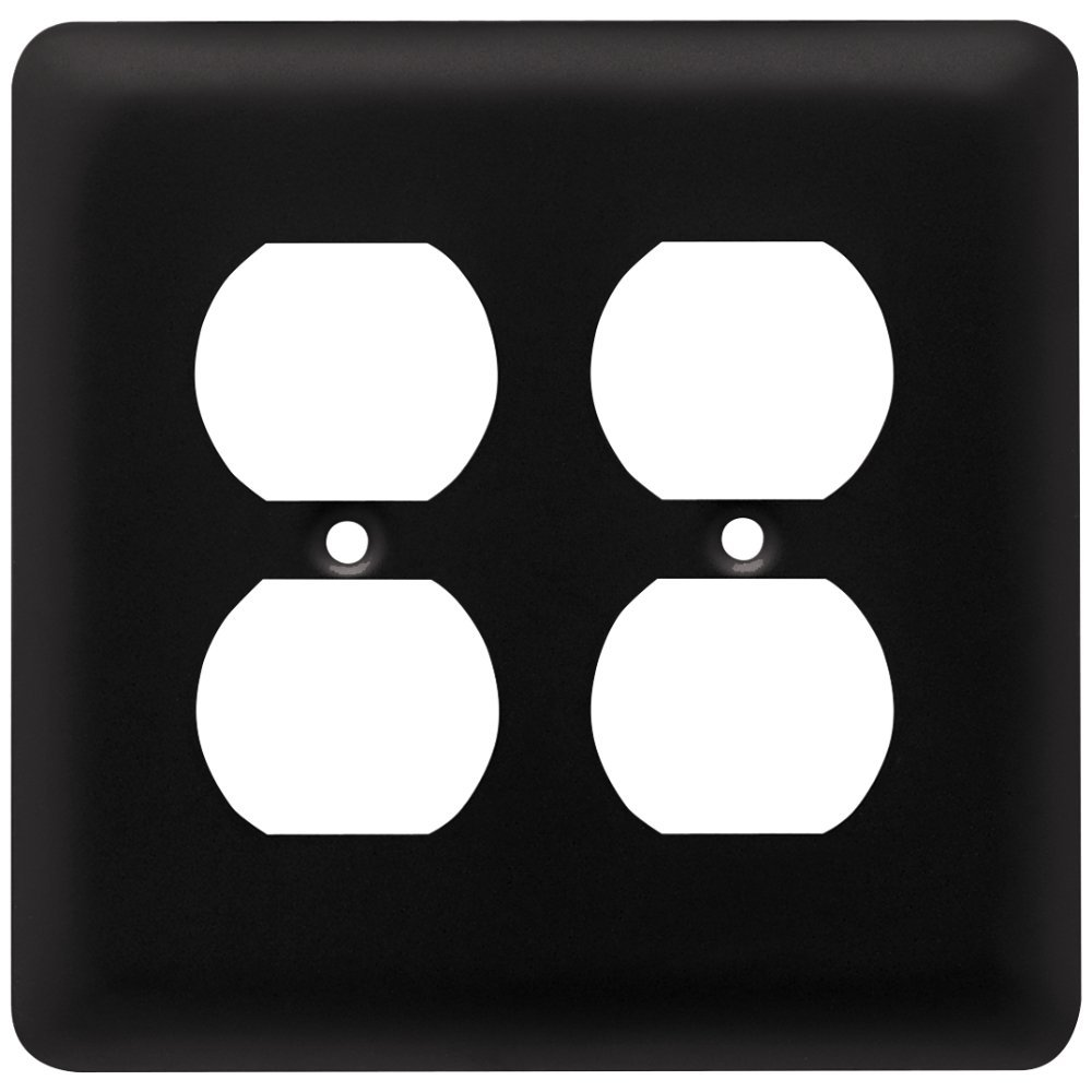 64074 Stamped Steel Round Double Duplex Outlet Wall Plate Switch