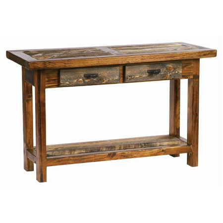 Rustic wood sofa table w drawer 2 drawer 48 in w for Sofa table at walmart