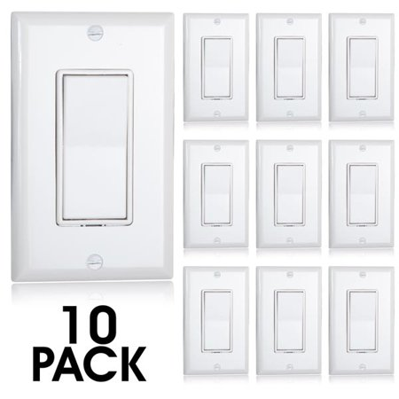 - Maxxima Single Pole Decorative Wall Switch On/Off White, Wall Plates Included (Pack of 10)