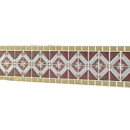 Tales Border - Peel & Stick Backsplash Border Set - 8 Pack Diamond Tile, BrownMulti