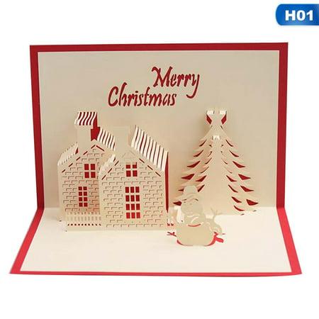 KABOER Merry Christmas Series Santa's Handmade Custom Greeting Cards Nice Christmas Cards 3D Christmas Gifts Souvenirs Postcards ()