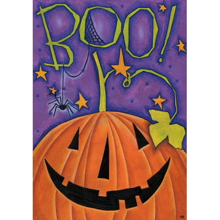 Boo! Great Big Pumpkin Happy Halloween 12 X 18 Inch Garden Flag