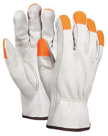Glove,Driver,Cow Grain,Cream,L,PR MCR SAFETY 3213LCHVSP