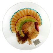 Tabletop TURKEY FUSED GLASS PLATTER Fusion Glass 13 Inch Round Plate 68624