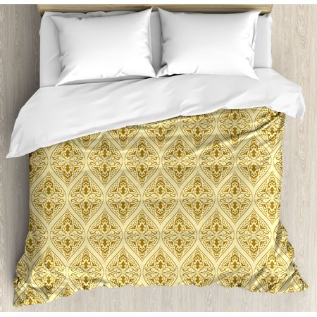 Renaissance Boot Pattern (Damask Queen Size Duvet Cover Set, Victorian Vintage Royal Ornamental Tiles Middle Age Renaissance Pattern, Decorative 3 Piece Bedding Set with 2 Pillow Shams, Light Yellow Amber, by)