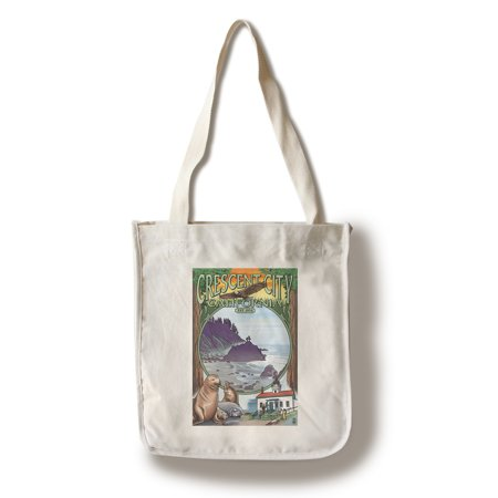 Crescent City, California Views - Lantern Press Poster (100% Cotton Tote Bag - Reusable) - California Tote Bag