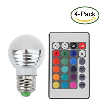Zimtown 4-Pack E27 Standard Screw Base 16 Colors Changing Dimmable 3W RGB LED Light Bulb with IR Remote Control for Home Decoration/Bar/Party/KTV Mood Ambiance