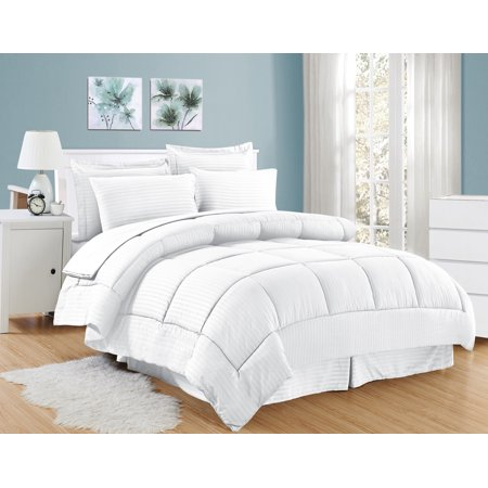 - 8 Piece Bed In A Bag Hotel Dobby Embossed Comforter Sheet Bed Skirt Sham Set