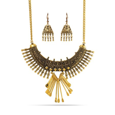 TAZZA WOMEN'S OXIDIZED ANTIQUE LOOK VINTAGE BOHO STYLE GOLD-TONE TASSEL EARRINGS AND STATEMENT NECKLACE
