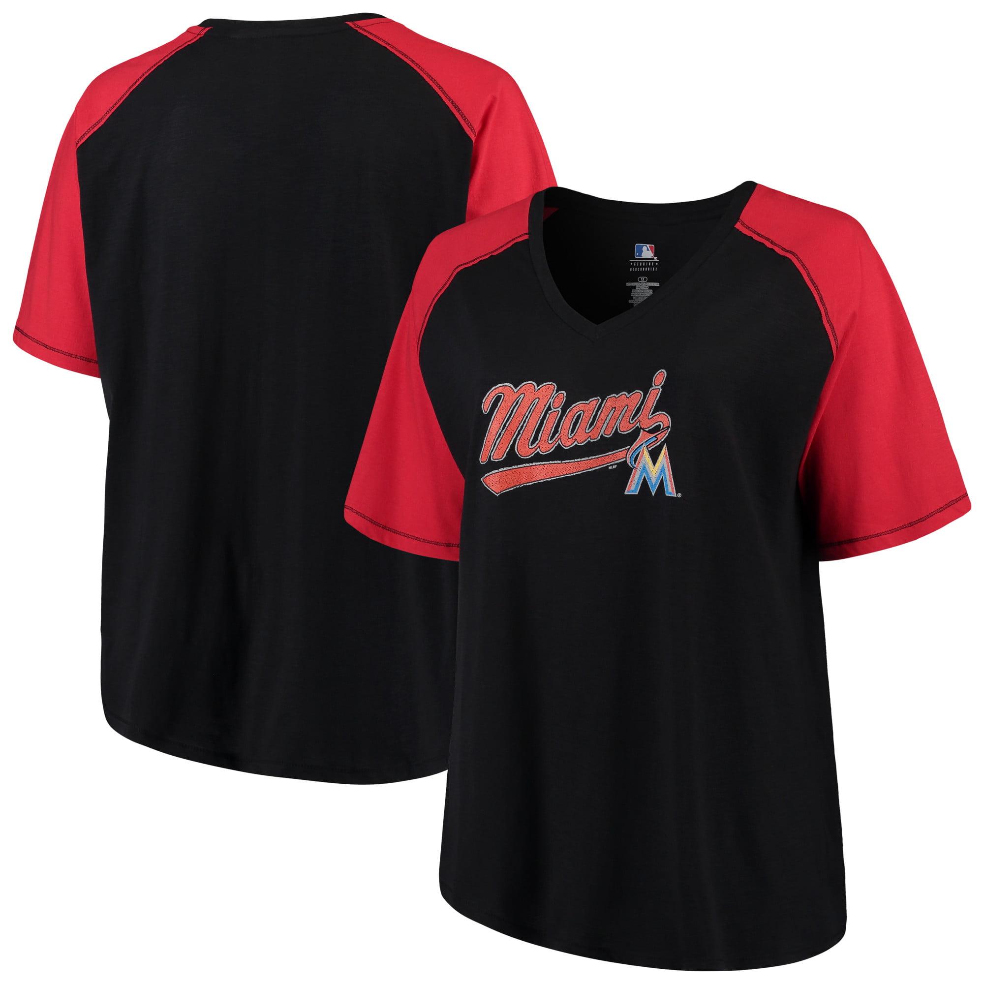 Women's Majestic Black/Red Miami Marlins Plus Size High Percentage Raglan V-Neck T-Shirt