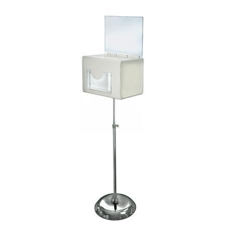 Azar 206325-WHT Extra Large White Suggestion Box on Adjustable Pedestal Floor Stand w/ Lock (Kohler Floor Container)