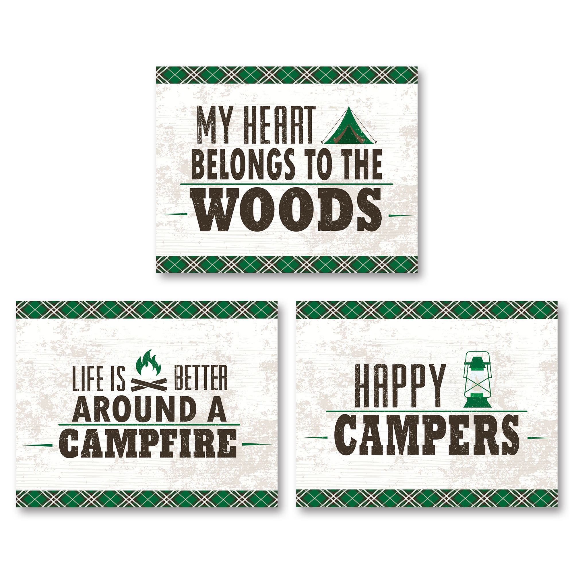 Green and White My Heart Belongs To The Woods, Happy Campers and Life Is Better Around A Campfire; Three 14x11in Unframed Paper Posters