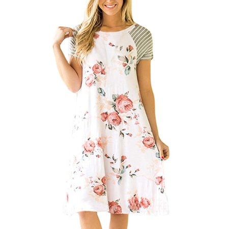 Women's Floral Print Casual Short Sleeve A-line Loose T-Shirt Dresses