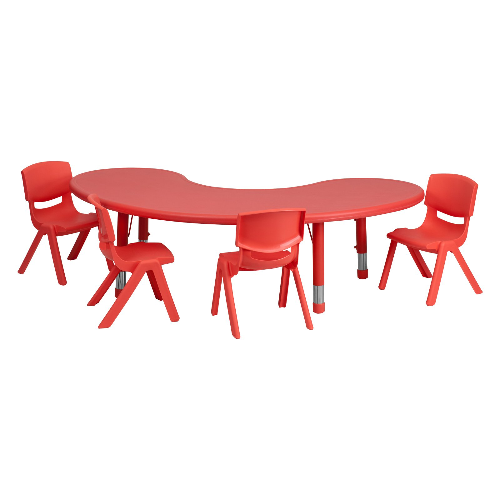 Flash Furniture 35''W x 65''L Adjustable Half-Moon Plastic Activity Table Set in Multiple Colors with 4 School Stack Chairs