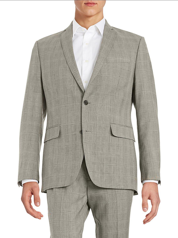 Plaid 2-Button Wool Suit Jacket