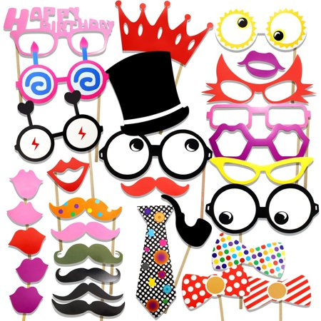 PuTwo Photo Booth Props Diy Kit For Birthday Party,Pack Of 31:Various Colors Of Mustache,Glasses Frames,Ties,Lips,Crown,Pipe,Eyes,Hat and Happy Birthday Sign