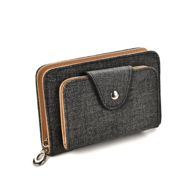 Glitzall VKP1499-Apricot Womens Short Leather Card Holder Purse Zipper Buckle Elegant Clutch Wallet - Apricot - image 1 of 1