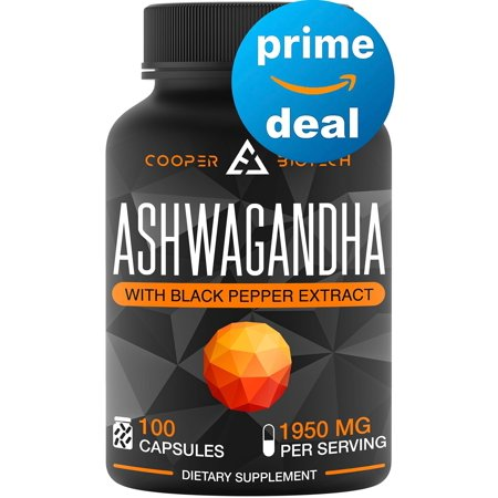 Ashwagandha - 100 Capsules 1950MG - Stress Relief - Anti Anxiety - Mood Enhancer - Organic Ashwagandha Root Powder Extract - Cortisol & Adrenal Support - Adrenal Fatigue - Thyroid Support Supplements ()