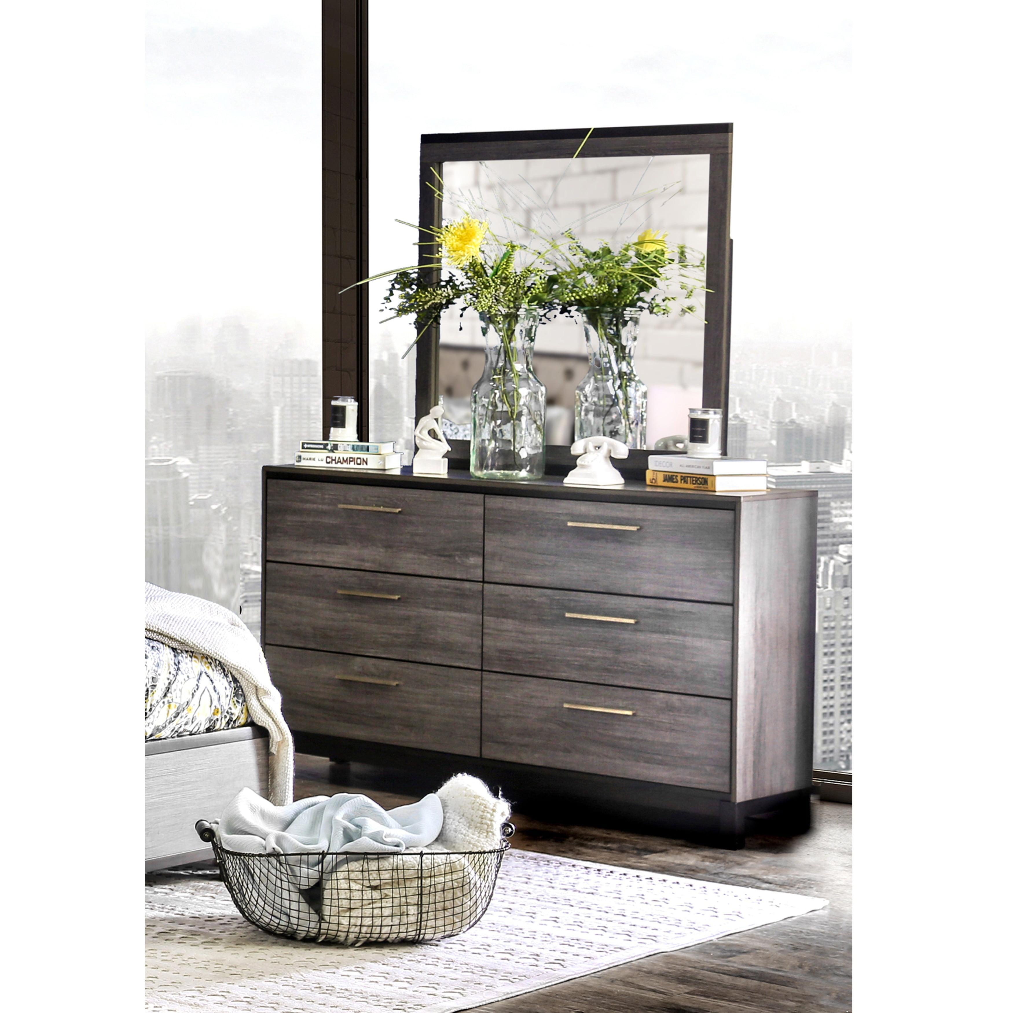 Attrayant Furniture Of America Silvine Contemporary 2 Piece Antique Grey Dresser And  Mirror Set   Walmart.com