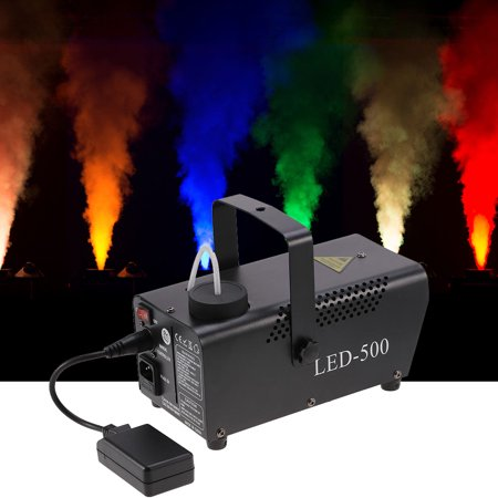 HERCHR Fog Machine, 500W RGB LED Fog Machine Remote Control Lighting DJ Party Stage Smoke Thrower Black 110V, Fog Machine with Lights