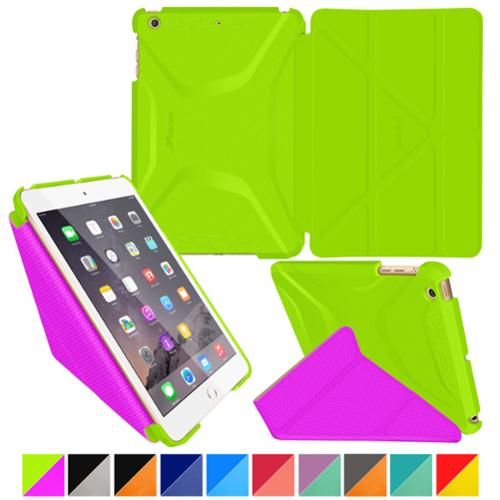 iPad Mini 3 Case - roocase Origami 3D iPad Mini Slim Shell Case Smart Cover Stand with Auto Sleep / Wake Feature for Apple iPad Mini 3, 2 & 1, Electric Green / Peach Pink