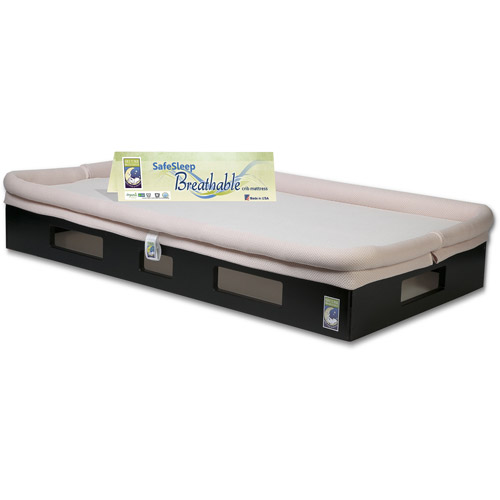 SafeSleep Breathable Crib Mattress, Espresso Base, Light Pink Surface