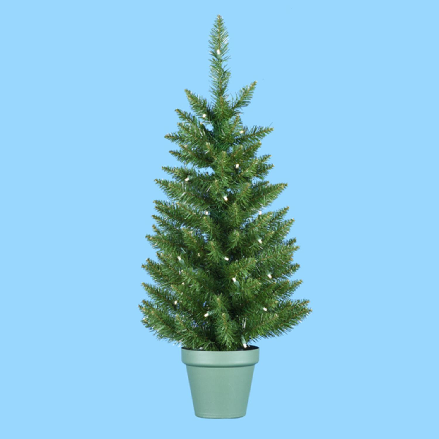 Potted Christmas Trees For Sale: 3' Pre-Lit Potted Artificial Pine Christmas Tree