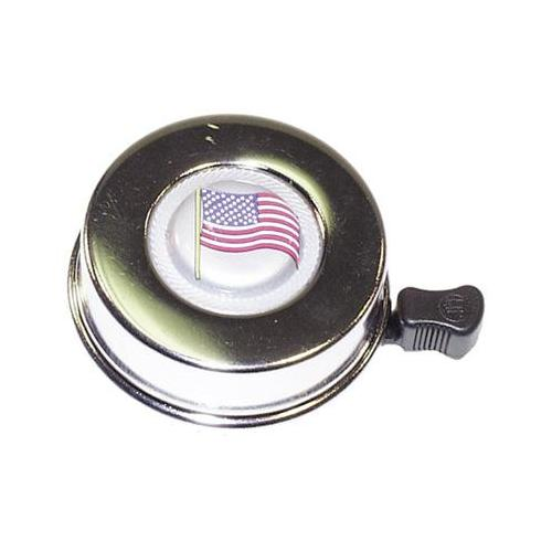Summit Chrome American Flag Bicycle Bell - #301-335