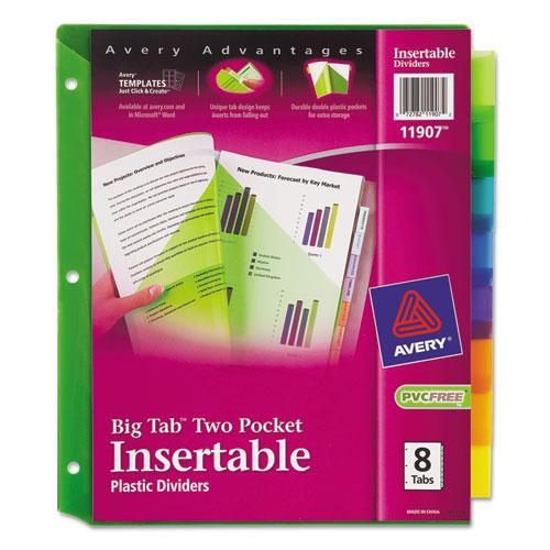 Avery Plastic Two-pocket Insertable Tab Divider - Print-on - 8 / Set - Multicolor Tab (AVE11907)