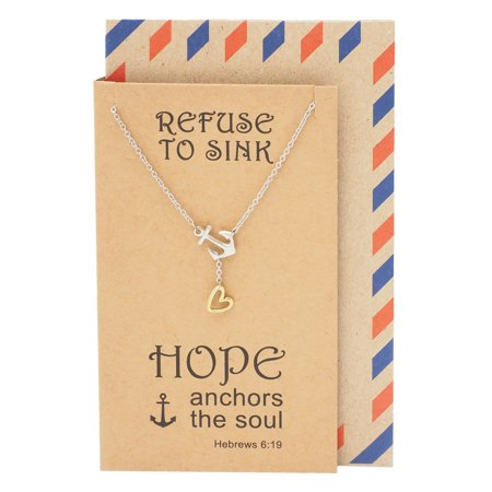 Quan Jewelry Anchor Necklace, Nautical, Silvertone, Inspirational Quotes on Greeting Card, 16-inch to 18-inch (Two Tone) - Nautical Jewelry