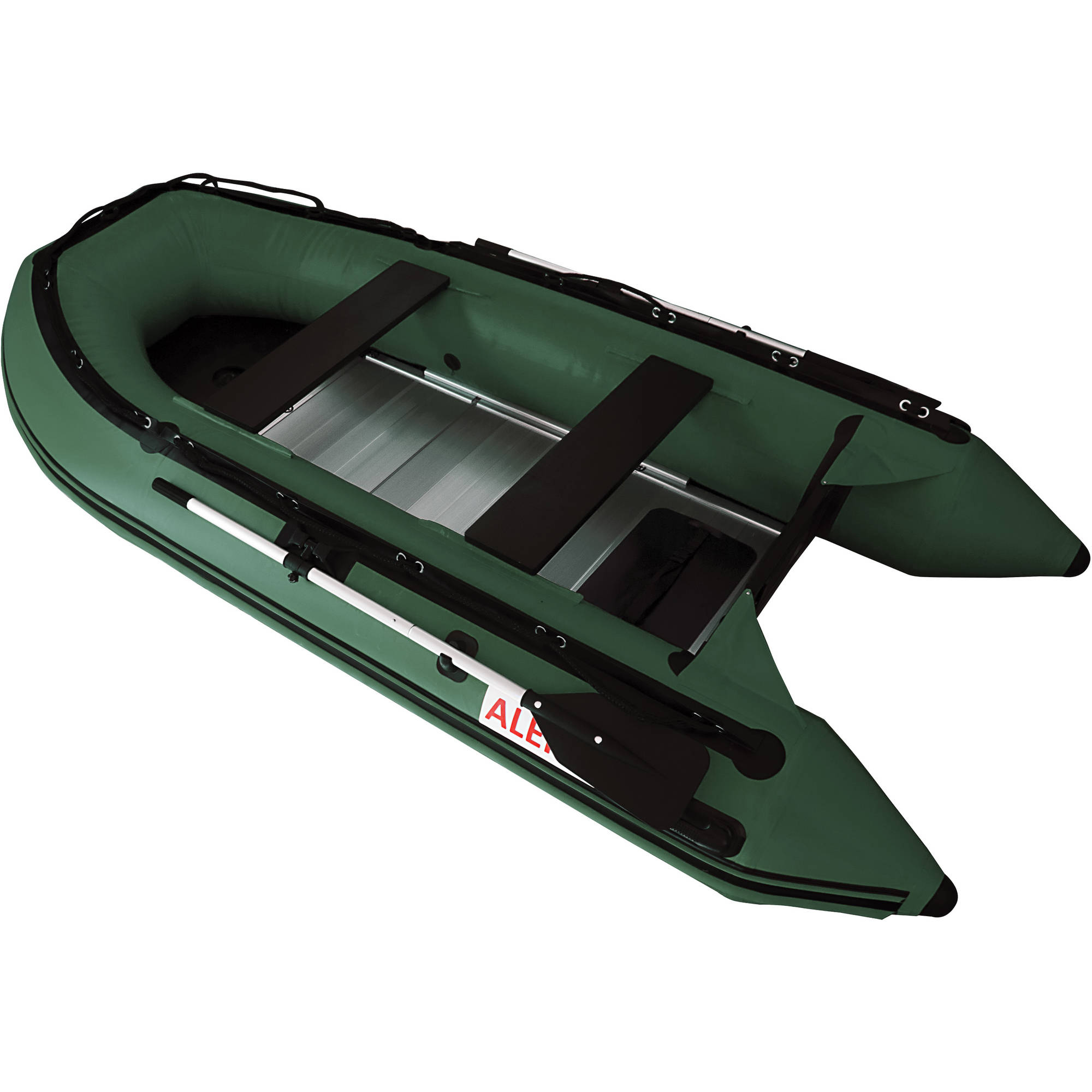 ALEKO Inflatable 4-Person Fishing Boat Aluminum Floor 10.5 Feet Green by ALEKO