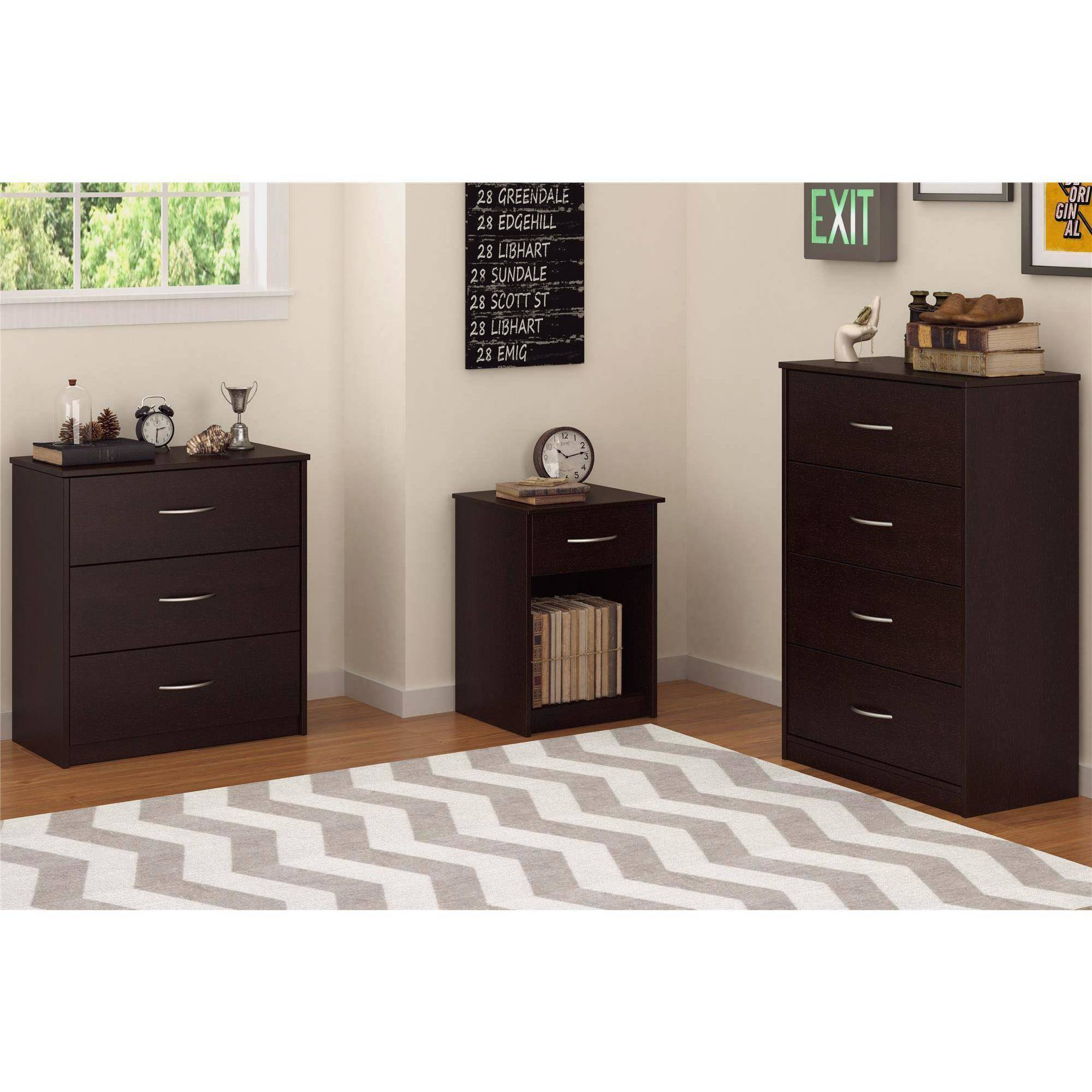 3 Drawer Dresser Chest Bedroom Storage Drawers Furniture Chest Espresso  Decor