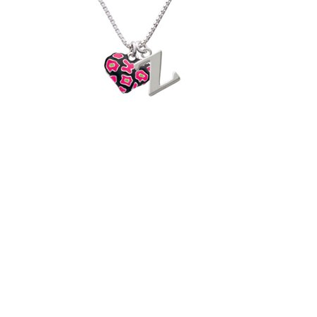 Silvertone Hot Pink Cheetah Print Heart Capital Initial Z Necklace (Pink Cheetah Print)
