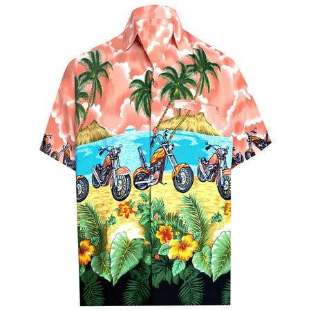 e6350b71 Hawaiian Shirt Mens Beach Aloha Camp Party Holiday Short Sleeve Button Up  Down Bike Print B