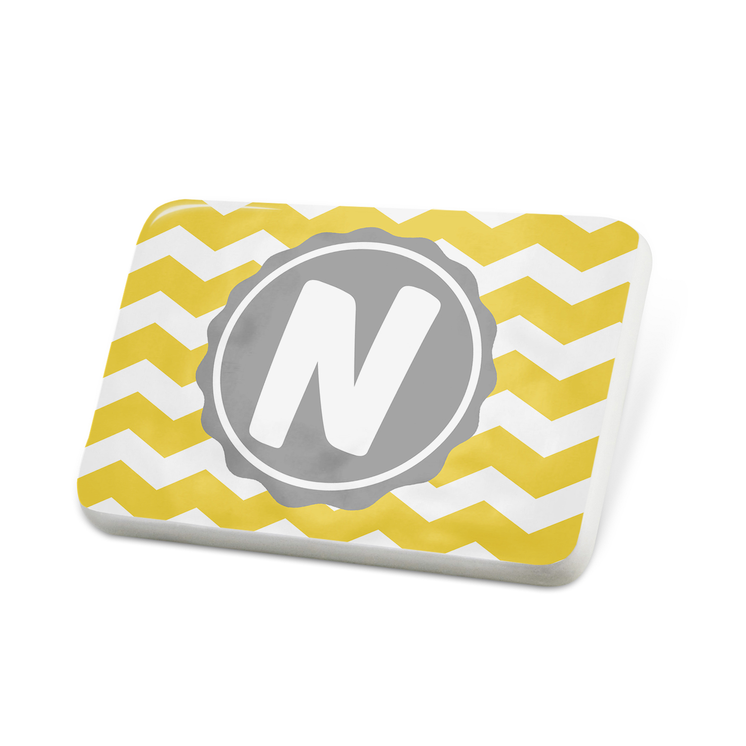 Porcelein Pin Monogram N Yellow Grey Chevron Lapel Badge � NEONBLOND by NEONBLOND
