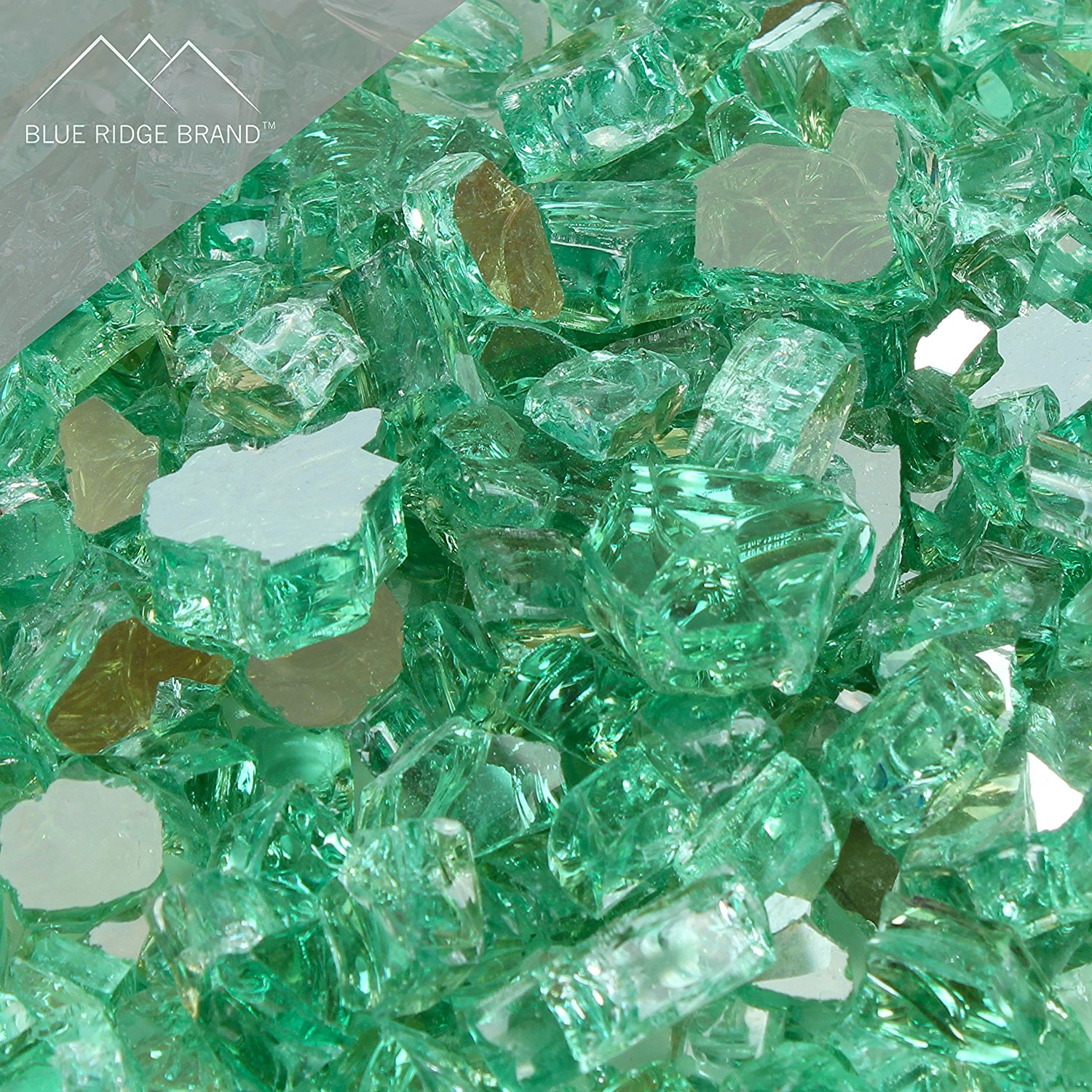 "Fire Pit Glass - Green Reflective Fire Glass 1/2"" - Reflective Fire Pit Glass Rocks - Blue Ridge Brand™ Reflective Glass for Fireplace and Landscaping 3, 5, 10, 20, 50 Pounds"