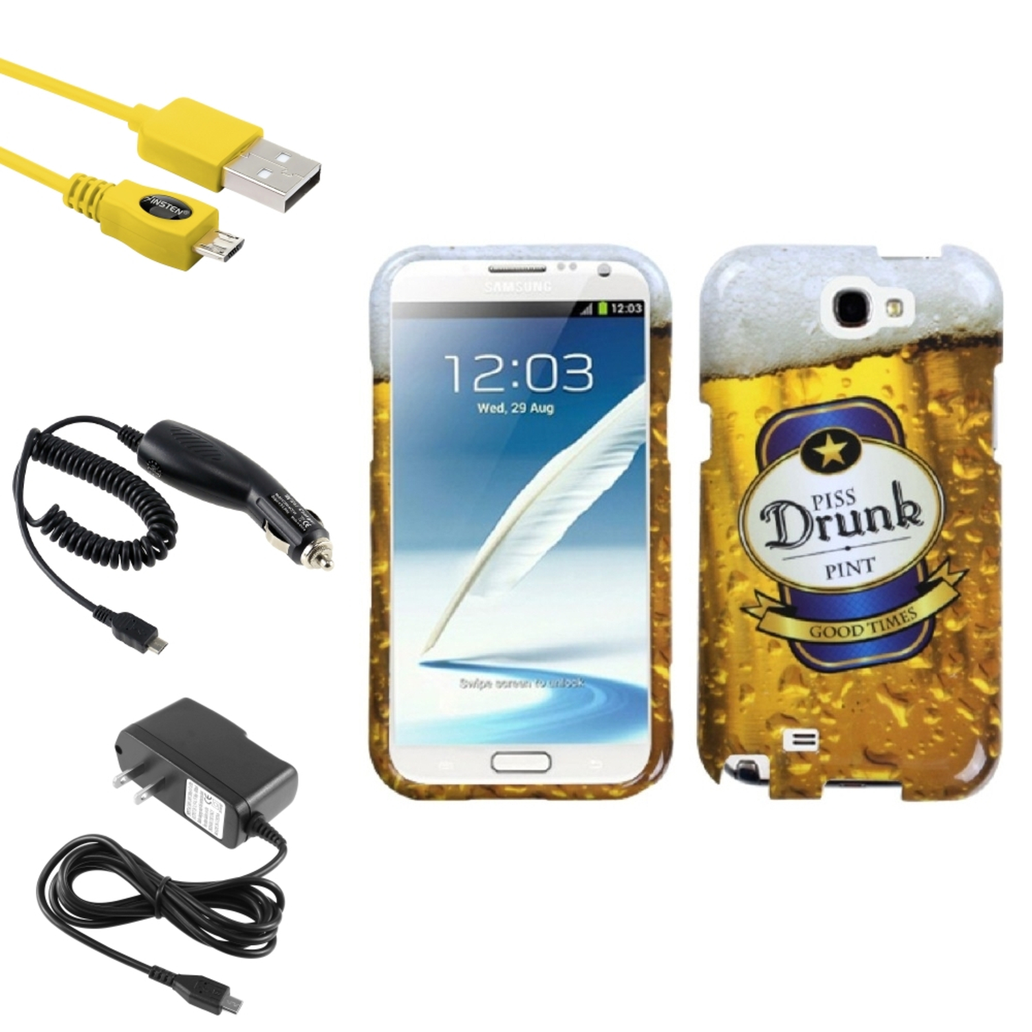 Insten Drunk Hard Case DC Home Charger Cable For Samsung Galaxy Note 2 II