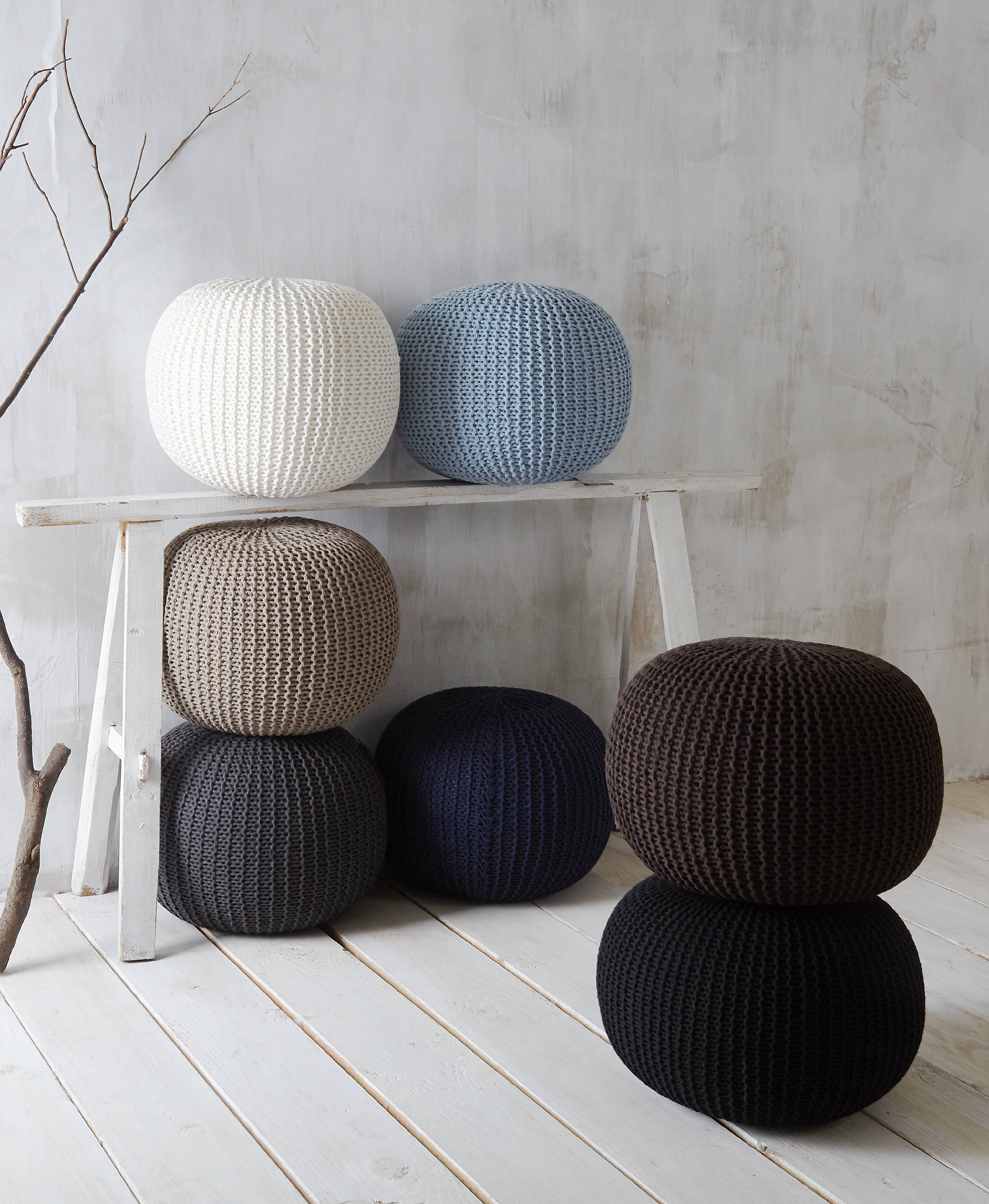 Incredible Urban Shop Round Knit Pouf Navy Short Links Chair Design For Home Short Linksinfo