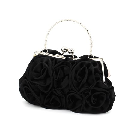 Women's Wedding Handbag Rose Flower Clutch Bag Prom Party Bridal Hand Bags Flower Beaded Satin Clutch