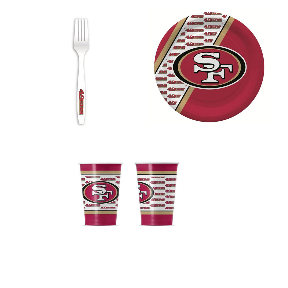San Fransisco 49ers 20 Pc Disposable Paper Plates And 20 Pc Disposable Paper Cups With 20 Pc Plastic Forks