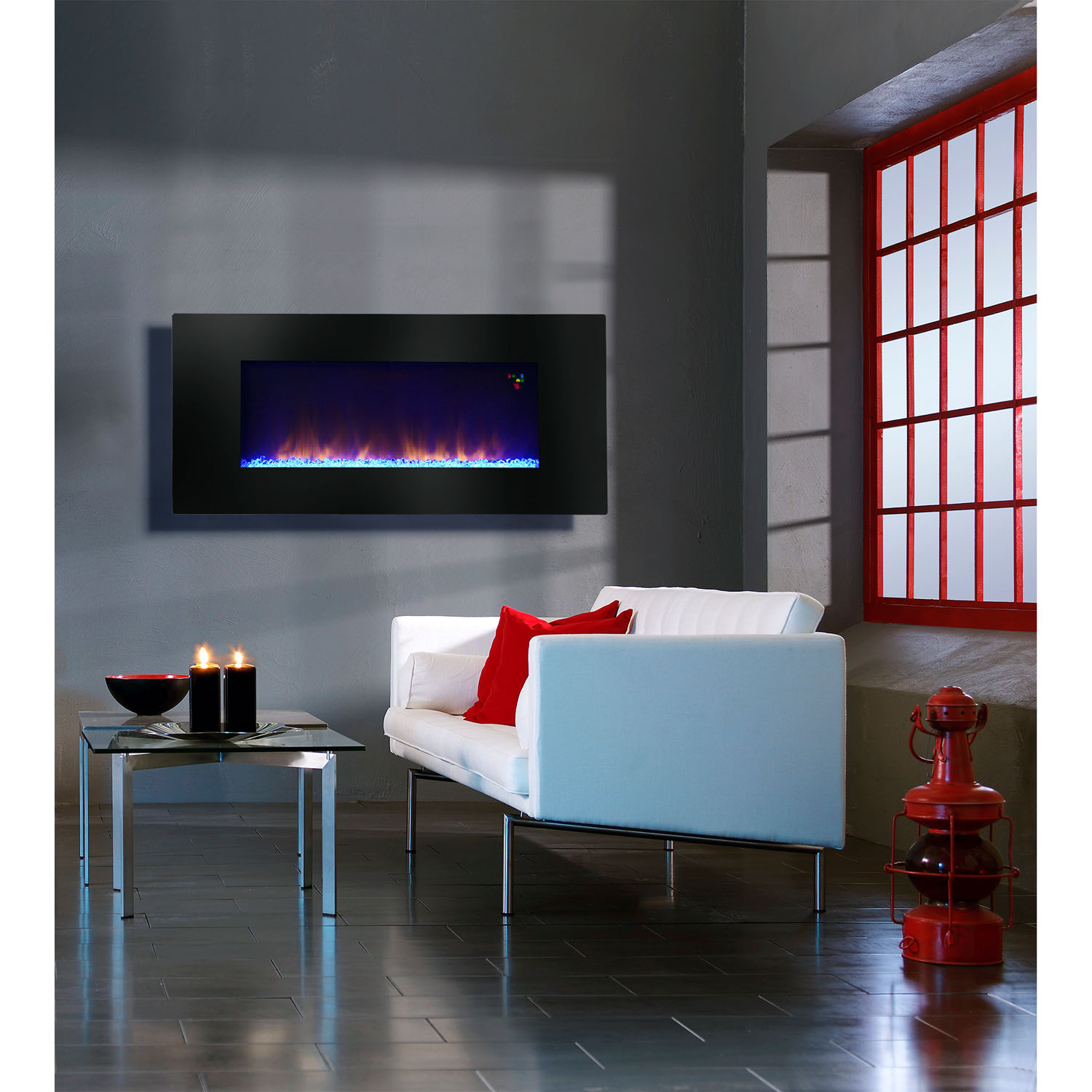 "Warm House 48"" Widescreen Wall-Mounted LED Fireplace with Customized Flame Patterns and Remote"