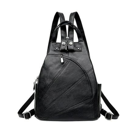 Vbiger Women Genuine Leather Backpack Purse Classic Travel Daypack Zipper Straps, Black