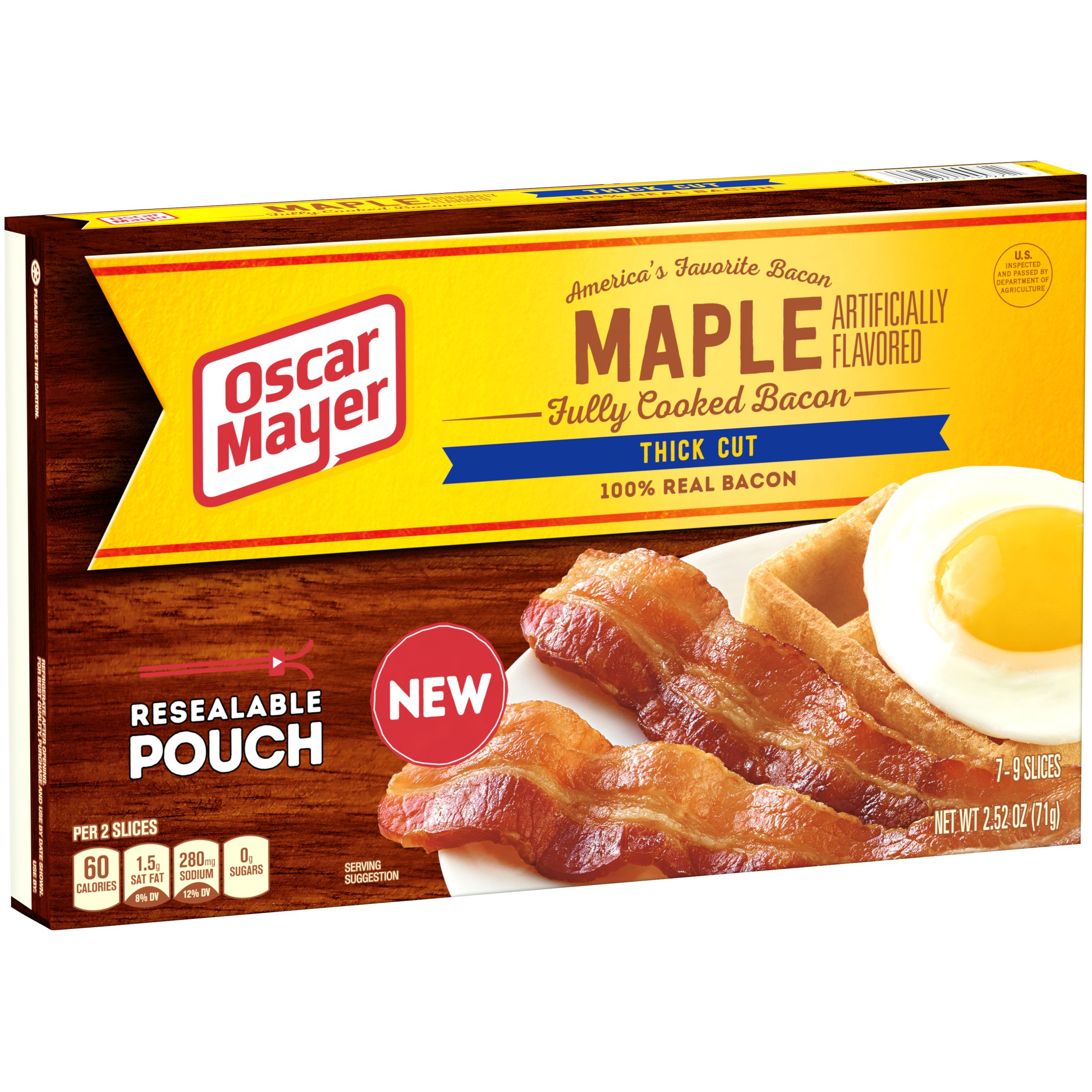 Oscar Mayer Fully Cooked Thick Cut Maple Bacon, 2.5 Oz.